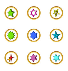 Different simple star icons set cartoon style vector
