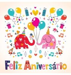 Feliz aniversario portuguese happy birthday cute vector
