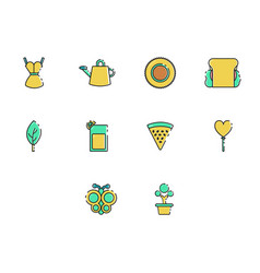 flat color spring season icon set vector image vector image