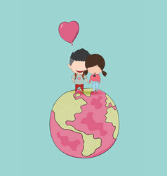 girl and boy with heart shaped balloon on globe vector image
