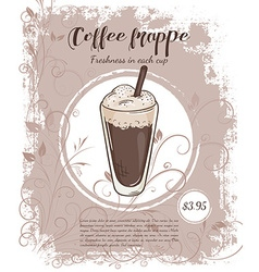 Hand drawn of drinks menu pages with cup of coffee vector