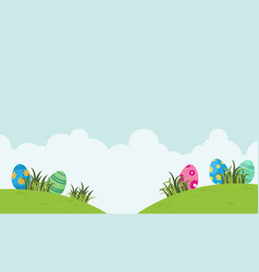 Landscape of easter egg and cloud vector