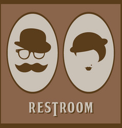 male and female restroom symbol icon flat design vector image vector image
