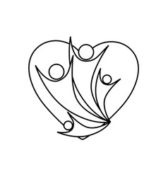 Monochrome abstract contour of heart with family vector