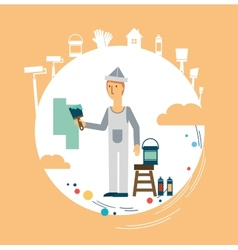painter paints the wall vector image
