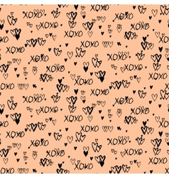 Pattern with hand painted hearts vector