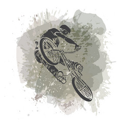 Rider jumping on a artistic abstract background vector