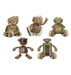 Robot in different actions vector image