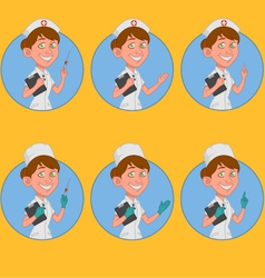 Set of avatars nurse vector