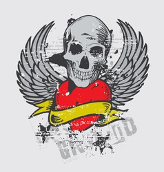 skull and wing vector image vector image