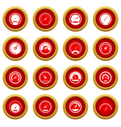 speedometer icon red circle set vector image