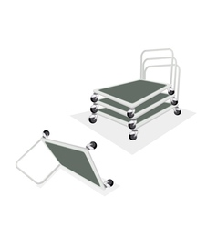 Stack of hand truck or dolly on white background vector