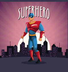 superhero costume comic standing with sunset city vector image