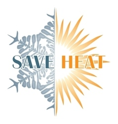 Save heat postcard with sun and snowflake vector