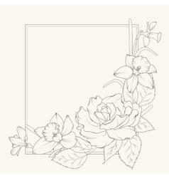 Rose and narcissus flowers frame design element vector image