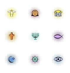 Religious faith icons set pop-art style vector
