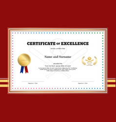 certificate of excellence template in sport theme vector image