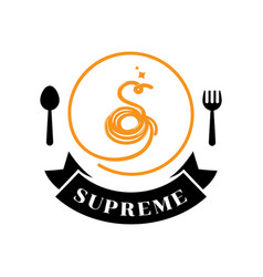supreme spaghetti logo with s letter typography vector image
