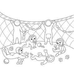 Kindergarten coloring book for children cartoon vector