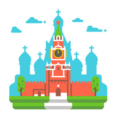 flat design red square clock tower vector image