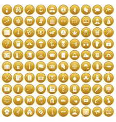 100 crime investigation icons set gold vector