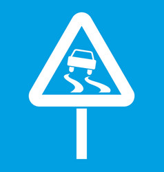 Slippery when wet road sign icon white vector