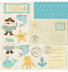 Sea scrapbook elements vector