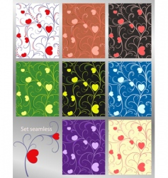 abstract pattern hearts set se vector image