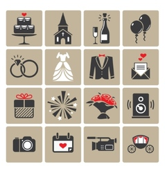 Colored square wedding icons vector