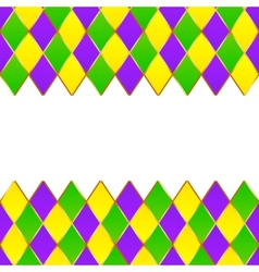 Green purple yellow grid mardi gras frame vector
