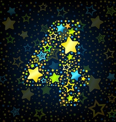 Number 4 cartoon star colored vector