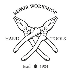 Vintage carpentry hand tools repair service labels vector