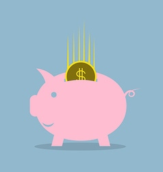 Pink piggy bank with dollar coin vector