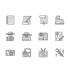 Flat line journalism icons set vector