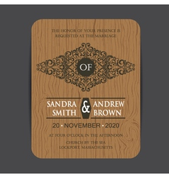 Wooden wedding invite card vector