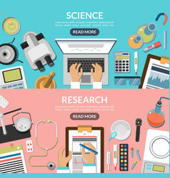 Science and research flat backgrounds set vector