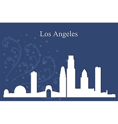 Los angeles city skyline on blue background vector