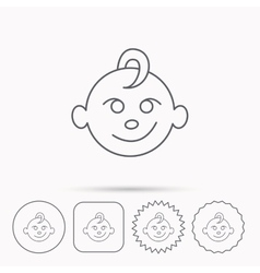 Baby boy face icon child with smile sign vector