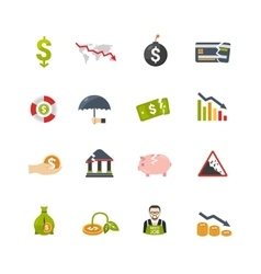 Finantial crisis flat icons set vector