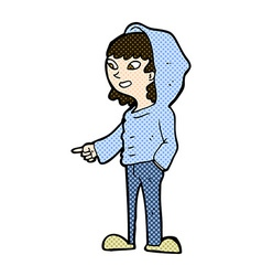 Comic cartoon pointing teenager vector