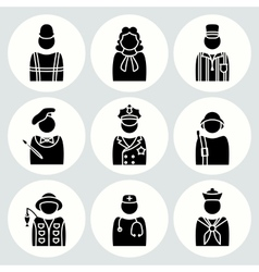People profession icon set judge painter vector