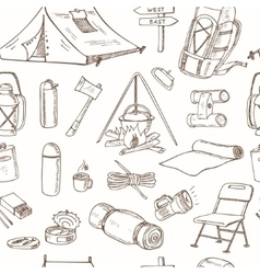 Hand drawn camping equipment drawings seamless vector