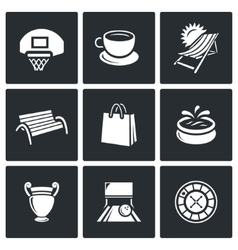 Set of recreation and entertainment icons vector