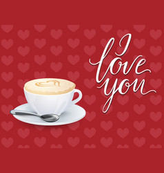 a cup of coffee on a pattern of hearts vector image vector image