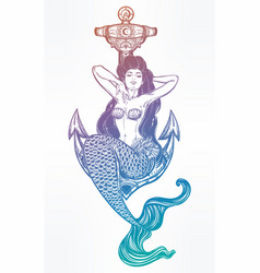 artwork of mermaid girl sitting on anchor vector image vector image