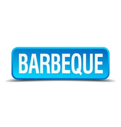 barbeque blue 3d realistic square isolated button vector image