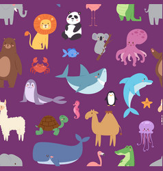cartoon animals wildlife wallpaper zoo wild vector image