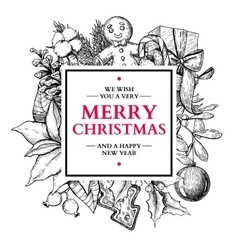 Christmas square frame hand drawn vector image vector image
