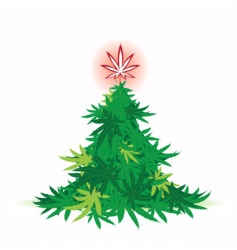 Christmas tree cannabis leaf vector image