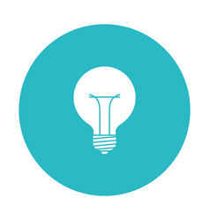Circle light blue with bulb light icon vector